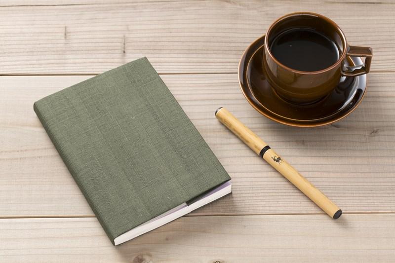 手織り麻のブックカバー